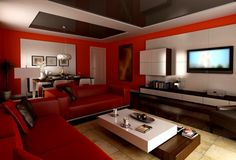 This one is a really romantic living room! The red couch covered with black leather pillows provides a cozy, romantic feeling. The interior design is very modern and uses a combination of red and white for the walls, and a dark shiny wood for the furniture. Really gorgeous!