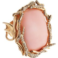 Lucifer Vir Honestus Coral & Diamond Anemone Ring