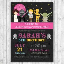 GIRLS Star Wars Birthday Invitation Personalized For Your Party