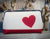 Tan and Red, Cotton and Linen, Valentine's Day Clutch
