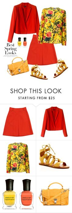 """""""Yellow silk floral print blouse'"""" by dianefantasy ❤ liked on Polyvore featuring Kate Spade, Max&Co., FAUSTO PUGLISI, Dolce Vita, H&M, Deborah Lippmann, Proenza Schouler, polyvorecommunity and polyvoreeditorial"""