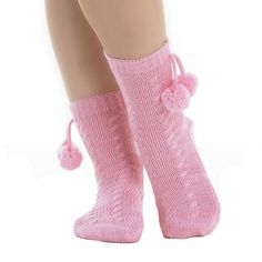 Slenderella Knitted Style with Pompoms Bedsocks - Pink - Blue - Cream - One Size Fleece Pajamas, Pyjamas, Pjs, Blue Cream, Pink Blue, Bed Socks, Leg Warmers, Nightwear, Cable Knit
