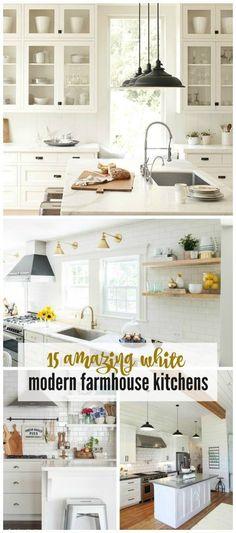 Home Decor. 15 Amazing White Farmhouse Kitchens - City Farmhouse