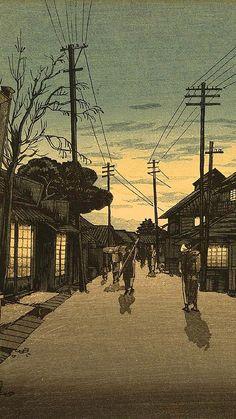 Japanese Art Prints, Japanese Painting, City Drawing, Japanese Cat, Art Asiatique, Illustration Art Drawing, Art Pictures, Photos, Amazing Sunsets