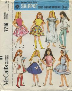 "Vintage Barbie™ Doll Clothes Sewing Pattern | Official Mattel Barbie's® Little Sister Skipper® Doll's Instant Wardrobe | McCall's 7716 | Year 1965 | One Size 9"" Doll"