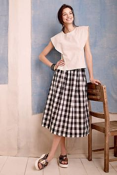 Buffalo Plaid Midi Skirt - anthropologie.com #anthrofave #anthropologie