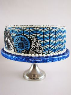 This is a vera bradley cake in blue bayou!!! One of the new colors!  This one's really pretty and is one of the colors that my friend likes.