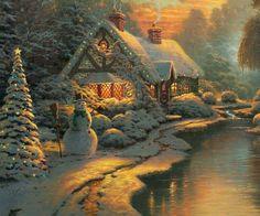 もうすぐクリスマス Thomas Kinkade Art, Thomas Kinkade Christmas, Christmas Scenes, Christmas Pictures, Christmas Eve, Xmas Holidays, Winter Holiday, Kinkade Paintings, Oil Paintings