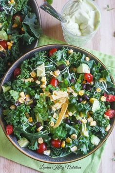 Chopped Mexican Kale Salad with Creamy Avocado Dressing from Lauren Kelly Nutrition