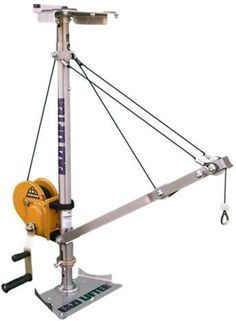 Window Lifting equipment - a unique portable lifting hoist for window installers working at heights - construction site safety.: