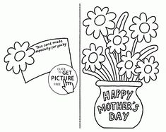 Card with Flowers for Mothers day coloring page for kids, coloring pages printables free - Wuppsy.com