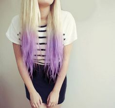 Pretty Blonde to Lilac Ombré, Lavender Purple ombre hair color idea for blonde hair girls~ so cute and nice~ can not to try it >v<
