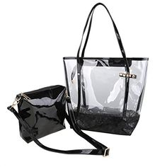 Zicac Woman Jelly Beach Bag PVC Transparent Tote Shoulder Bag Handbag Minimali Black *** Check out the image by visiting the link. Shoulder Handbags, Shoulder Bag, Tote Bags, Clear Handbags, Valentino Bags, Kids Bags, Casual Bags, Bag Sale, Leather Wallet
