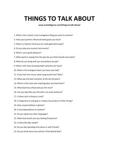 Things to talk about can be handy when meeting new people and you find yourself with nothing to say! Use this list and never run out of things to say! Questions To Get To Know Someone, Deep Questions To Ask, Getting To Know Someone, Personal Questions, Interesting Questions To Ask, This Or That Questions, Random Questions, First Date Questions, Truth Or Dare Questions