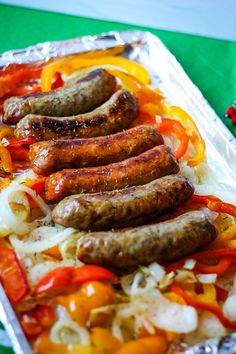 Sheet Pan Sausage and Peppers Made with Hatfield - The Perfect Big Game Meal - Momma Lew Baked Italian Sausage, Hot Sausage, Sausage Peppers And Onions, Stuffed Peppers, Sausages In The Oven, Bratwurst Recipes, Recipe Sheets, Cooking Recipes, Kitchens