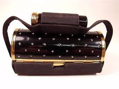 Too-Cute-K-K-Black-Enamel-Rhinestone-Compact-Purse-Carryall-Necessaire-W-Box