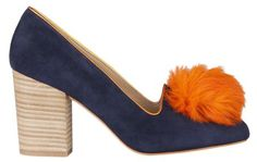 Minna Parikka--- omg how perfect are these blue and orange pom-pom pumps, I mean really; just awesome Pom Pom Pumps, Fall Lookbook, Head Over Heels, Fall Shoes, Shoe Shop, Black Cream, Style Guides, Heeled Mules, Stiletto Heels