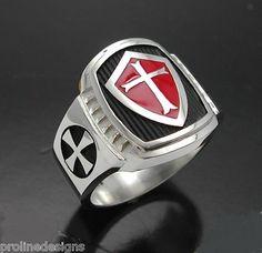 Knights Templar Sterling Silver Mens Masonic Freemason Ring