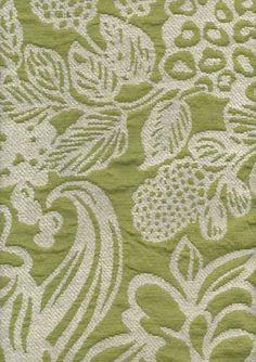 drapery fabrics - floral fabrics - Tahiti Chartruese Floral Chenille Upholstery Fabric