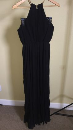 """Black Pleated Gown NWOT New without tags b/c I took them off/threw away upon buying. Too long for me. Polyester feel. Gold clasp around neck. Measurements of dress:    Length chest to floor: 60""""  Cleavage v: 5"""" long  Gold chain circumference: 22""""  Can try on or measure if requested. Here are my measurements for a guide:    MY MEASUREMENTS  ------------------------  My height: 63"""" - 5' 3""""  Shirt: M/L  Pants: 13 woman's size / 33"""" in / L-XL / Petit/Short  Blouse/Dress: 10-13 Petit/Short…"""