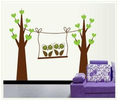 Two Tree Owls in A Swing Wall Decal Nursery Room Wall Decor Sticker