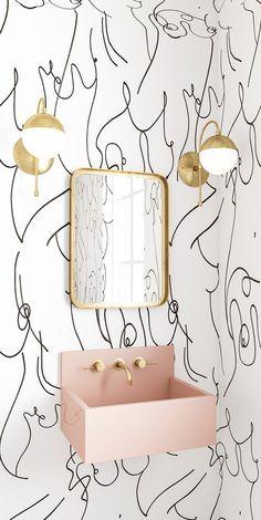 WALLPAPER : BOSOM // BLACK  WHITE - drop it MODERN - Modern and contemporary interior designed wallpaper for the studio and home. | #wallpaper #InteriorDesign #HomeDecor #bedroom #bathroom #kitchen #LivingRoom #designer #luxury #traditional #FarmHouse #MidCenturyModern