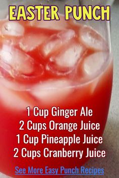 Punch recipes - easy Easter punch recipe for your Easter brunch party or for a crowd at Easter Sunday dinner, potluck or family gathering at home or at church. See lots more punch recipe ideas like th Christmas Drinks, Holiday Drinks, Fun Drinks, Party Drinks, Yummy Drinks, Holiday Recipes, Easter Recipes, Recipes Dinner, Party Recipes