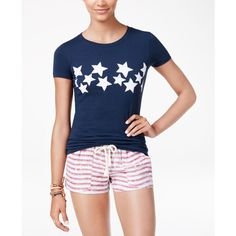 Roxy Juniors' Cotton Stars Graphic T-Shirt ($15) ❤ liked on Polyvore featuring tops, t-shirts, navy, graphic design t shirts, blue tee, cotton t shirts, graphic t shirts and crew t shirts