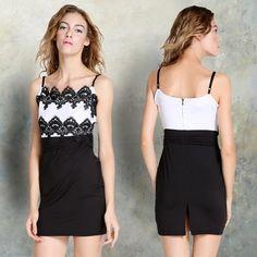 New Fashion Womens Spaghetti Strap Lace Trimmed Bodycon Pencil Dress