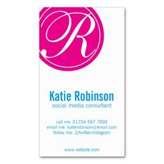 What about a sleek and stylish business card now you can do it pink blue and white monogram business card reheart Image collections
