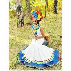 Find modern Traditional Wedding Dresses in South Africa online. Pedi Traditional Attire, Zulu Traditional Wedding, Sepedi Traditional Dresses, South African Traditional Dresses, African Wedding Attire, African Attire, African Wear, African Dresses For Women, African Print Dresses