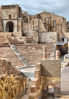 Remains of Roman Theatre & Santa Maria La Vieja Cathedral - Cartagena,  Spain