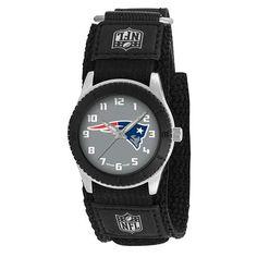 New England Patriots Unisex Quartz Analog Silver Round Case Black Strap 30Mm Rookie Black