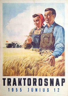 "Socialistisch Realisme in Budapest - Socialistisch Realisme in Budapest ""Traktorosnap 1955 június 12"" uit 1955. Kunstenaar: János Nyári"