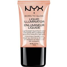 NYX COSMETICS Born to Glow liquid illuminator (£7) ❤ liked on Polyvore featuring beauty products, makeup, face makeup, beauty, faces, filler, gleam, nyx, nyx makeup and nyx cosmetics