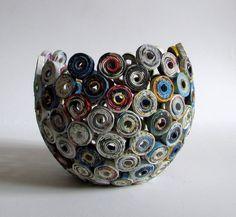 Vase kugelförmig handgemacht aus Altpapier von fantasmaniaxx