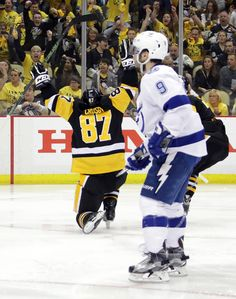 May 16, 2016 vs. Tampa Bay (Round 3, Game 2): Sidney Crosby scored his first-career playoff overtime goal to even the series for the #Pens. Final score, 3-2 Penguins (OT).