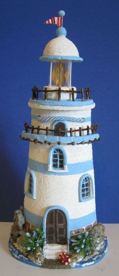 MANUALIDADES Y ARTESANIAS ELIZABETH Clay Pot Crafts, Rock Crafts, Diy Clay, Diy And Crafts, Clay Houses, Ceramic Houses, Miniature Houses, Clay Pot Lighthouse, Nautical Art