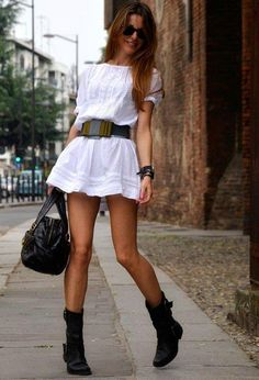 B~40 Trendy Street Style fashion street clothes young fun cute white short mini dress black belt, shoes, boots bag. sexy hot