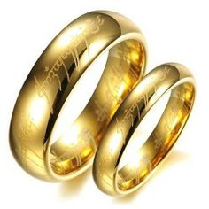 Lovejewelry Tungsten Carbide Lord of the Rings Style Gold Plated Promise Couple Ring