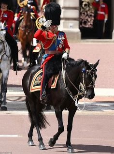 Charles leads the Welsh guards on horseback in a show of pomp and pageantry as… Cousins, Queen Elizabeths Children, Horse Guards Parade, Royal Art, Prince Charles And Camilla, Queen Birthday, London Today, King And Country, Majestic Horse