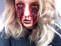 SFX makeup by Imi Deverell Ideas to recreate: Latex paste substitute scab blood Would have to figure out something for right under the eyes.. maybe make some sort of prosthetic.