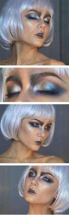 metallic oilslick eyes, silver, blue, dark grey metallic lips, pearl highlight on cheeks