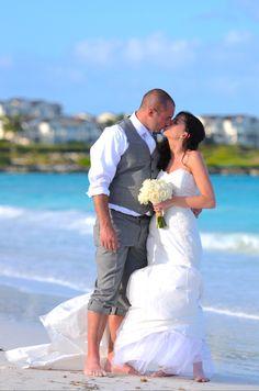 Sand and surf beneath their feet! Katelyn and Jim's destination wedding at Great Exuma, Bahamas.