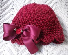 Crocheted Newborn Cloche Hat Baby Girl Autumn Red Scalloped | Etsy Baby Girl Beanies, Baby Hats, Newborn Crochet Patterns, Crochet Ideas, Baby Girl Crochet, Girl With Hat, Handmade Gifts, Handmade Baby, Cloche Hat