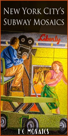 The New York City subway system has a great public art collection that includes photography, stained glass, and of course mosaic art. Click on this and see all the magnificent mosaics!
