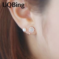 3 Colors Crystal Flower Stud Earrings Fashion Pure 925 Silver Pearl Stud Earrings Jewelry Pendientes Brincos Fashion Jewelry #Affiliate
