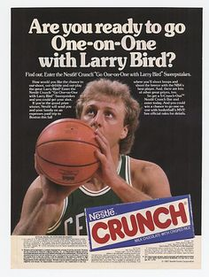 Nestle Crunch x Larry Bird Old Advertisements, Advertising, Curry Nba, Old Candy, Basketball Pictures, Larry Bird, Vintage Ads, Vintage Food, Magazine Ads