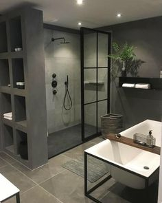 Useful Walk-in Shower Design Ideas For Smaller Bathrooms – Home Dcorz Bathroom Shelf Decor, Diy Bathroom, Shiplap Bathroom, Bathroom Goals, Modern Bathroom, Small Bathroom, Bathroom Organization, Bathroom Ideas, Bad Inspiration