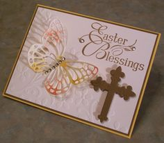 Stampin' Up! ... hand  crafted card: Easter Blessings in Flight  by Linda Throgmorton ... die cut butterfly and cross ...